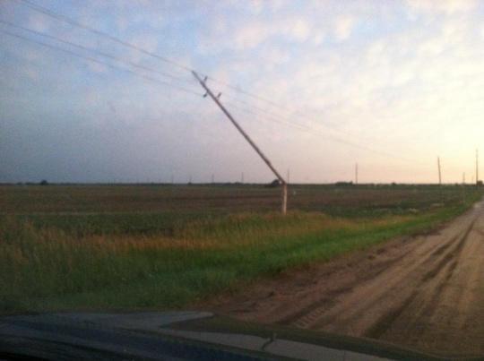 Snapped power line.