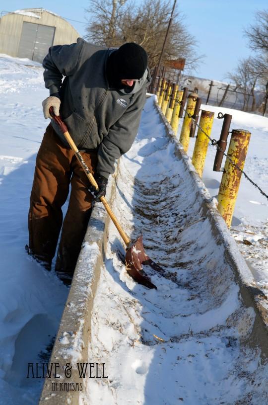 Adam shoveling snow.