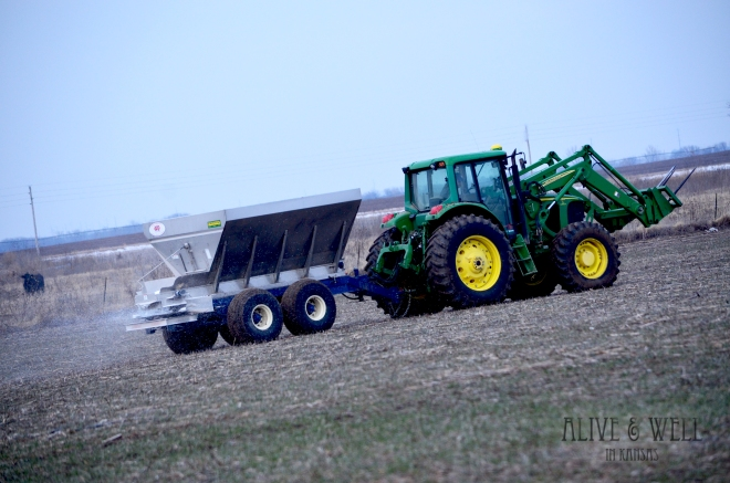 Spreading 5 tons of urea at 10 miles per hour.