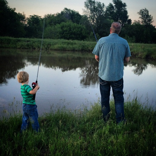 Hitting a farm pond with their poles for some fishing time.